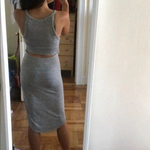 Aritzia - gray midi dress with cut out
